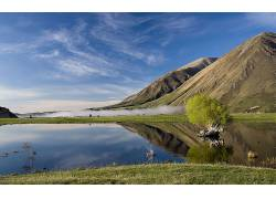 105874,地球,山,山脉,农场,池塘,雾,反射,蓝色,天空,云,水,壁纸