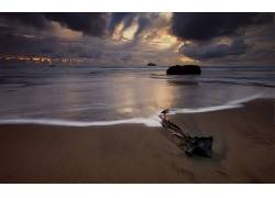 103062,地球,海滩,海,海洋,天空,岩石,自然,云,水,日落,沙,壁纸图片
