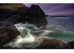 105886,地球,海岸线,波浪,岸,黄昏,爱尔兰,海洋,海,岩石,海岸,日
