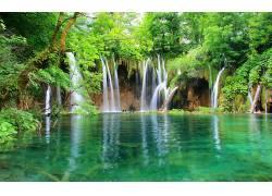 101665,地球,瀑布,瀑布,水,泻湖,自然,壁纸图片