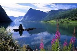 103254,地球,湖,湖,山,自然,水,花,风景,壁纸