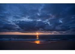 104202,地球,海滩,海洋,波浪,云,日出,壁纸图片