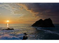 104204,地球,海洋,海滩,岩石,云,彩色,反射,波浪,日本,壁纸图片