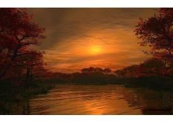 110017,地球,日落,反射,树,湖,天空,壁纸
