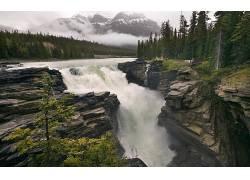 110041,地球,阿萨巴斯卡,瀑布,瀑布,河,壁纸图片