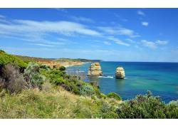 104238,地球,海岸线,澳大利亚,岩石,蓝色,天空,云,壁纸