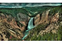 104240,地球,瀑布,瀑布,直接热轧制,峡谷,森林,壁纸