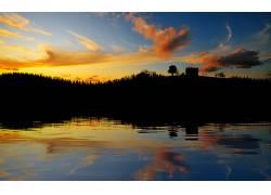 101906,地球,日落,湖,云,房子,水,反射,壁纸图片