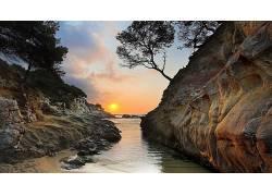 106555,地球,风景,水,岩石,日落,壁纸图片