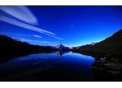101912,地球,湖,湖,摄影,自然,山,夜晚,明星,反射,壁纸图片
