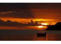 104347,地球,日落,海洋,海岸线,云,反射,水,彩色,壁纸图片