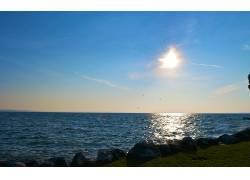 104395,地球,海洋,海滩,岸,反射,蓝色,天空,鸟,壁纸