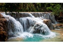 104429,地球,瀑布,瀑布,森林,岩石,水,壁纸图片