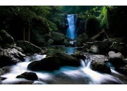 107970,地球,瀑布,瀑布,摄影,荒地,隐退的,泳池,溪流,岩石,丛林,图片