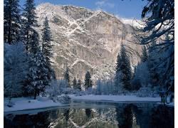 104967,地球,山,山脉,自然,冬天的,雪,树,湖,壁纸图片