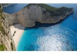 108219,地球,悬崖,希腊,海滩,沙,海,Zakynthos,纳瓦霍语,海滩,壁图片