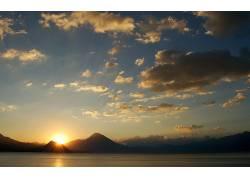 105067,地球,日落,湖,山,火山,云,危地马拉,壁纸图片