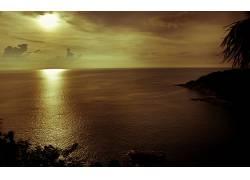 105110,地球,日落,海洋,反射,云,金色的,彩色,普吉岛,泰国,壁纸图片
