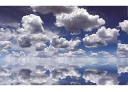 105802,地球,云,湖,蓝色,天空,反射,壁纸