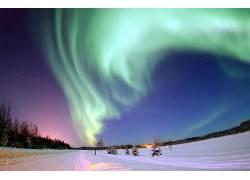 108589,地球,曙光,北极星,北极星,灯光,雪,天空,明星,壁纸