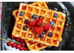 1032984,食物,华夫饼,浆果,蓝莓,草莓,水果,早餐,壁纸