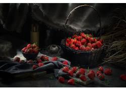 913819,食物,草莓,水果,篮子,水果,浆果,仍然,生活,壁纸