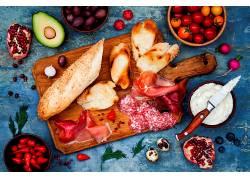 908165,食物,仍然,生活,水果,面包,肉,意大利香肠,壁纸