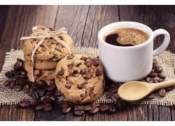 903178,食物,咖啡,杯子,咖啡,豆子,饼干,壁纸