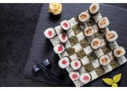 912619,食物,寿司,海鲜,鱼,米饭,筷子,仍然,生活,壁纸图片