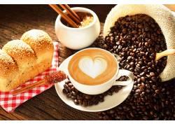 746143,食物,咖啡,杯子,面包,咖啡,豆子,壁纸