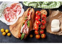 764679,食物,三明治,番茄,奶酪,肉,仍然,生活,壁纸