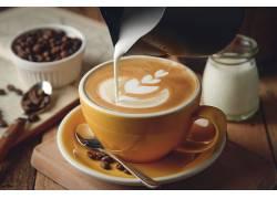 749235,食物,咖啡,杯子,咖啡,豆子,牛奶,壁纸