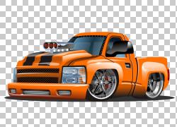 皮卡车卡通插图,手绘卡通改装皮卡车漫画,橙色皮卡车卡通插图PNG