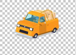 皮卡车卡通插图,黄色小皮卡PNG剪贴画紧凑型汽车,面包车,卡车,皮