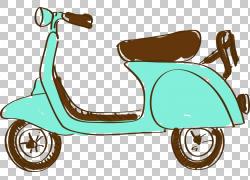 汽车,手绘卡通电动车PNG剪贴画水彩画,卡通人物,滑板车,汽车,运输