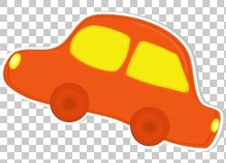 汽车,手绘橙色轿车PNG剪贴画水彩画,轿车,简单,手,橙色,汽车,窗口