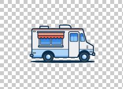 汽车街食品食品卡车插图,可爱的简单旅行餐车PNG剪贴画爱,蓝色,食