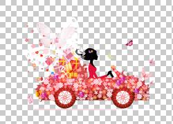 汽车花女孩,五颜六色的花美丽驾驶PNG剪贴画颜色飞溅,驾驶,摄影,