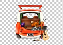 汽车MINI,汽车驾驶创意绘画PNG剪贴画水彩画,小型汽车,汽车事故,