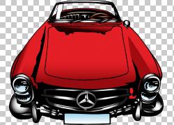 梅赛德斯 - 奔驰190 SL跑车Jubileum,漆成红色车PNG剪贴画水彩画,