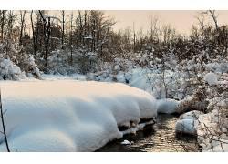 96630,地球,冬天的,小溪,溪流,雪,壁纸图片