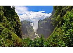 84027,地球,瀑布,瀑布,河,云,树,壁纸图片