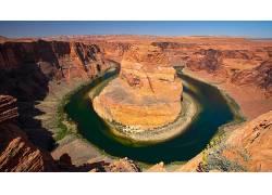 84074,地球,马蹄铁,弯曲,峡谷,河,曲线,壁纸图片