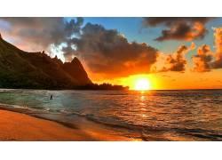 84359,地球,海滩,日落,云,水,壁纸图片
