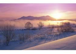 84369,地球,冬天的,雪,日出,雾,粉红色,阳光,山,壁纸图片
