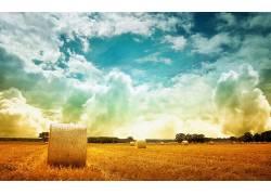 84516,地球,干草堆,领域,天空,云,壁纸图片