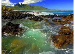 15433,地球,海滩,海洋,潮汐,山,壁纸图片