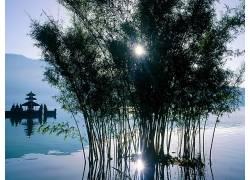 15438,地球,风景优美的,太阳,湖,树,壁纸图片