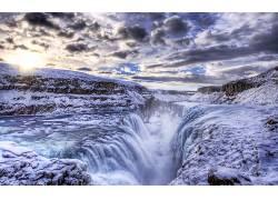 16976,地球,海鸥,瀑布,壁纸图片