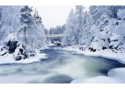 85266,地球,冬天的,河,雪,壁纸